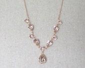 Swarovski Crystal Blush Pink Bridal Necklace, Rose Gold Brides Necklace, Custom Wedding Jewelry, Pale Pink Teardrop Statement Necklace