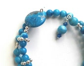 Blue Crazy Lace Row Counter Bracelet for Knitting or Crochet Count to 100