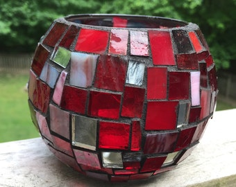 Candle Holder Large Stained Glass Mosaic Vase by Red Crow Arts