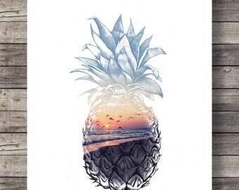 Pineapple sunset, Printable art, sunset beach, art print, Pineapple Sunsrise, Aloha tropical island, Printable wall art, Hawaii beach sunset