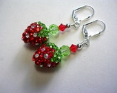 Strawberry Earrings Swarovski Crysal and Rhinestone Pave Silver Red Green Crystal Peridot Siam Leverback Hooks Wire Wrapped Fruit Earrings