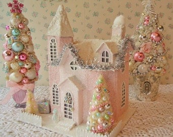 XL PINK PUTZ Lighted House w/ Bottle Brush Trees - Shabby n Chic