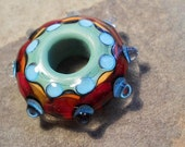 Aqua, green & red glass bead, handmade lampwork kaleidoscope bead, whorl necklace, big hole focal bead pendant, jewelry supplies