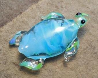 Milky aqua Sea Turtle necklace, Lamp Work Glass Bead marine biologist pendant, ready to wear glass jewelry, Isinglass Design, glassbead