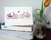 Bicycle Love screenprinted Valentine card - red grape