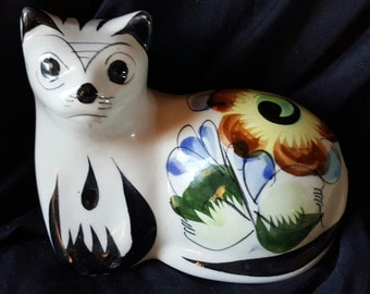 Vintage Mexican Tonala Pottery Hand Painted Collectible Folk Art - Ceramic Cat Figurine - Circa 1970's -Marked Mexico