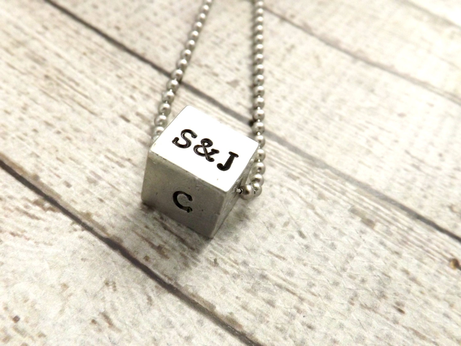 personalized necklace mens necklace 4 sided cube necklace