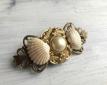 Beach Wedding No.17 - Seashell, Vintage Pearl and Gold Assemblage Bridal Headpiece for a Beach / Coastal Wedding