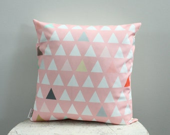 triangle coral pink Pillow cover 18 inch 18x18 modern hipster accessory home decor nursery baby gift present zipper canvas ready to ship