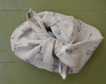 block-printed linen bento bag