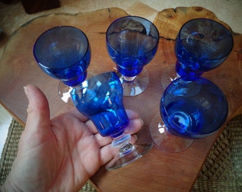 Beautiful Cobalt Blue Vintage/Antique Liquor or Sherry Glasses in wonderful condition