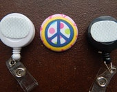Fabric Covered Button for Clip on Retractable Badge Reel - Peace Sign