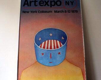 Pop Art Jean-Michel Folon Art Expo New York 1970s Framed Art Work, Framed Poster