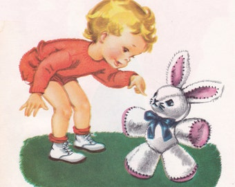 vintage illustration of a child with a stuffed bunny toy, printable nursery decor, digital image no. 1038.