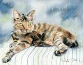 Tabby Cat Art Painting PRINT Watercolor painting  Rachel Parker rachelsstudio Artist Artwork Custom hand painted handmade huge large stripes