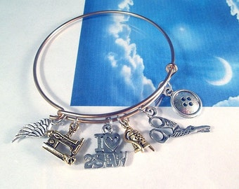 Sewing Bangle Bracelet Love to Sew Scissors Sewing Machine Button Thimble Needle Thread Layers Stackable Personalize Name Initial Adjustable