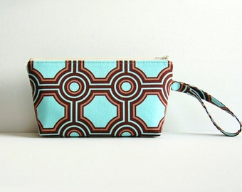 Cosmetic Case, Makeup Bag, Zipper Pouch, Toiletry Storage, Square Tiles in Flax Joel Dewberry Ginseng