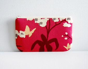 Medium Zipper Pouch Makeup Bag Cosmetic Case Raspberry Orchid Joel Dewberry Ginseng