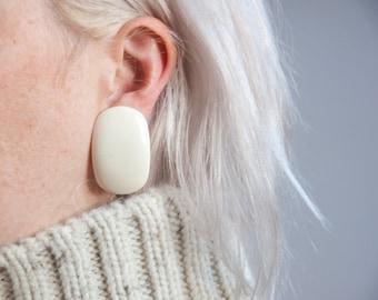 orion white simple earrings / oversized earrings / clip on earrings / 684a