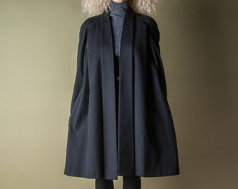 coming soon - black wool swing coat / minimalist trapeze overcoat / vtg 80s winter robe coat / m / 996o