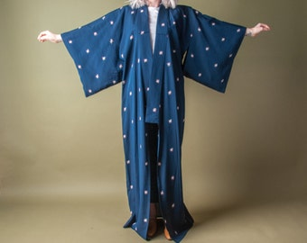 midnight blue full length kimono jacket / abstract print kimono / vintage kimono / s / m / 1025o