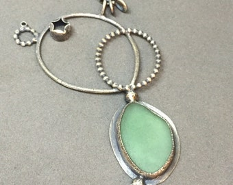 custom icy aqua blue green seafoam beach glass necklace sculptural wearable art modern oxidized silver