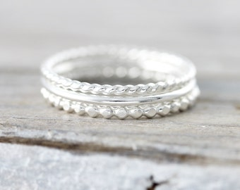 Set of 3 textured stacking rings in sterling silver or gold filled - twisted, smooth and dotted rings (set3)