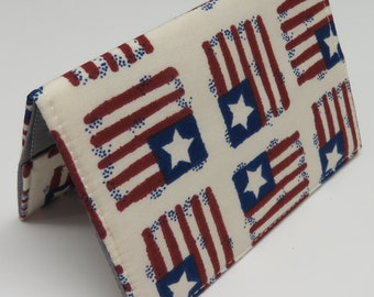 Passport Fabric Case Cover Holder Travel Holiday Cruise - Patriotic Flags