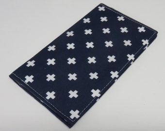 SAMPLE SALE - Ready to Ship - Checkbook Cheque Cover Case Money Coupon Receipts Holder - White Crosses Cross on Navy Blue