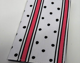 SAMPLE SALE - Ready to Ship Checkbook Cover Case Cheque Coupons Receipts Money Holder - Dark Pink and Black Stripes with Black Dots on White