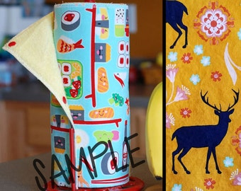 Tree Saver Towels - Mod Deer - Reusable, Eco-Friendly, Snapping Paper Towel Set - Cotton and Terry Cloth