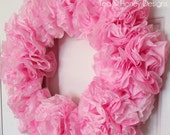 "Pink Paper Wreath Rustic Spring Decor Round 17"" Easter"