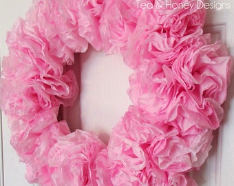 Pink Paper Wreath, Coffee Filter Wreath, Baby Girl Nursery, Wedding, Craft Room, Party Decor