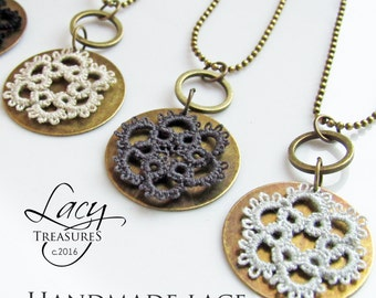 Modern Necklace, Lace Pendant, Copper Jewelry, Layer Necklace, Vintage Jewelry, Rustic Pendant, Textile Jewelry, Round Necklace, Everyday