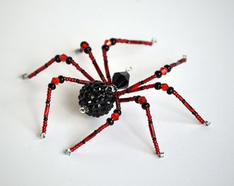Sarita - red and black glass beaded spider goth sun catcher - Halloween decoration - Christmas ornament