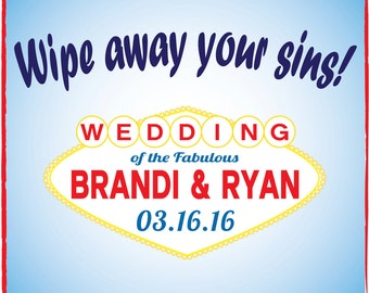 Wipe away your sins Vegas Wedding Hangover survival kit favor - customize to match your party