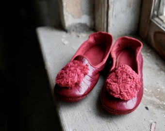 Victorian Children's Red Leather Slipper Shoes
