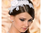 Maria Satin Flower Bridal Headband, Flower Wedding Headpiece with Crystals