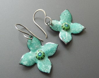 Enamel over Copper Hydrangea Blossom Earrings with Murrini Centers and Handmade Sterling Silver Earwires