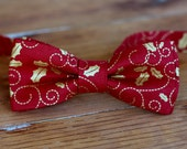 Boys red bow tie - red and gold holly Christmas bowtie - holiday ties infant baby toddler preteen child boy gift - Christmas mens bow tie