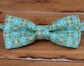 Mens Bow Tie - Teal with Yellow, Salmon Accents Cotton Bowtie for Men and Teen Boys - mens wedding bow tie - father son bow tie - gift tie
