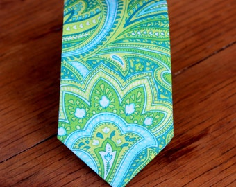 Mens Green Necktie - blue green paisley cotton neck tie - wedding tie - groomsmens neckties - ties for men - prom necktie - fathers day gift