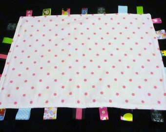 Taggie blankie white and pink polka dots