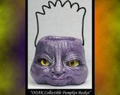 Fantasy Collectible Purple Pumpkin Basket DollHouse Art Doll Polymer Clay OOAK sculpt