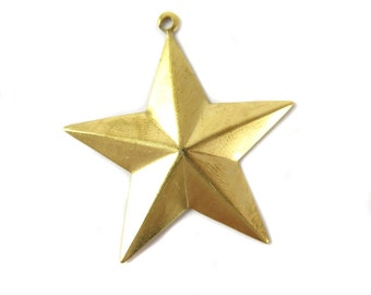 Brass Nautical Star Charms (6X) (M839)