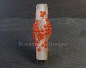 Frosted Rowan Berries and Branch - Handmade Lampwork Glass Focal Tree Bead - Rowanberry SRA - Winter