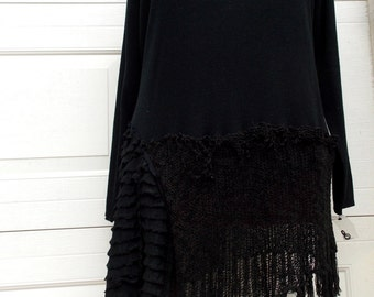 SALE 4X Fringed Sweater Tunic XXXXL Plus Size Women Recycled Handmade Clothing Black Lagenlook