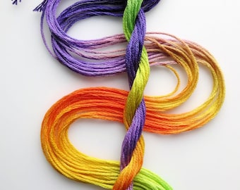 """Embroidery floss """"Crocus"""" hand dyed cotton"""