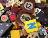 Huge Lot Vintage Game Pieces Letter Tiles Numbers and more 80+ vintage for swaps, altered art, collage, scrapbooking