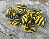 Yellow Zebra Striped Hair Bows,Pigtail Hair Bows,Toddler Hair Bows,Big Girl Hair Bows